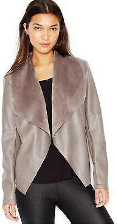 Bar III Womens Faux Leather Flyaway Jacket