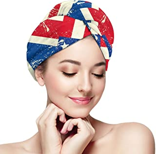 USA and UK Flag Printed Microfiber Dry Hair Cap for Bath Spa Soft Towel,Super Absorbent Quick Drying Towel Wrap,Turbans for Wet Hair