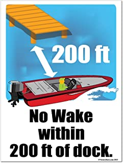 VictoryStore Yard Sign Outdoor Lawn Decorations: No Wake Within 200 feet of Dock Plastic Sign, Size 18 inches x 24 inches