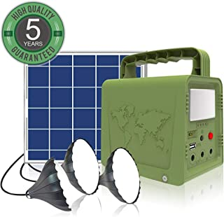 WAWUI Portable Power Station, Solar Generator with Solar Panel & Flashlights for Home Emergency Backup Power, Camping Lights with Battery, USB DC Outlets, for Travelling Fishing Hunting (42Wh)
