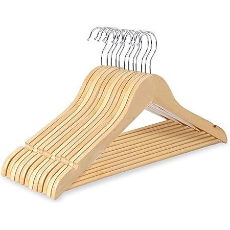 HOMTOYOU ハンガー 木製ハンガー 洗濯ハンガー 物干しハンガー U型滑り止め 12本組セット