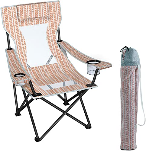 Chaise de Camping, Chaise de Camping à Dossier Haut Ergonomique avec Sac de Transport et Doubles Porte-gobelets, Chaise Pliante Quad Outdoor Heavy Duty, Support de 260 LB