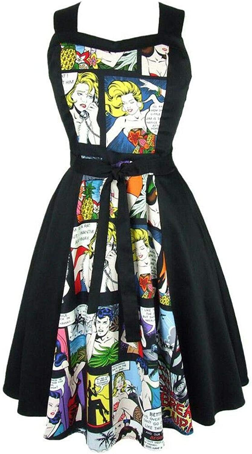 Hemet Women's Pinup Comic Black Full Circle Dress