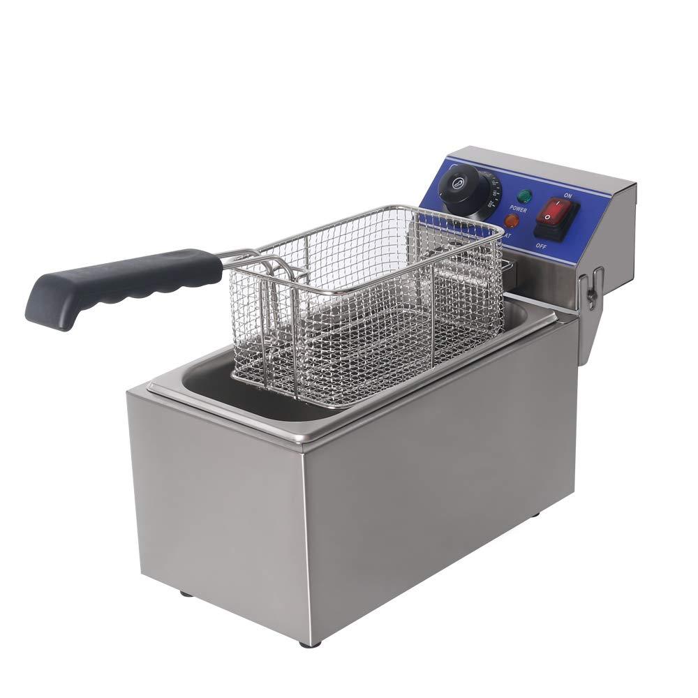 Itop – Freidora eléctrica Kleine gewerbl iche Cocina Cocinar calienta EU Conector Acero Inoxidable Cuerpo patatas fritas 2000 W Capacidad 6L: Amazon.es: Hogar