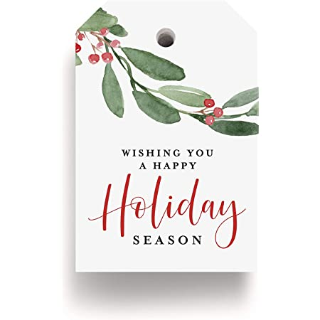 Bliss Collections Holiday Season Gift and Favor Tags, Pack of 50 Holly Greenery Cards for 'Tis The Season Events, Parties and Celebrations - Great for Seasonal Favors