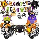 46 Piezas Decoraciones de Halloween Globos de Fiesta de HalloweenHalloween Pancarta Con Forma de Remolino para Halloween Banner Araña Bruja Mago globo