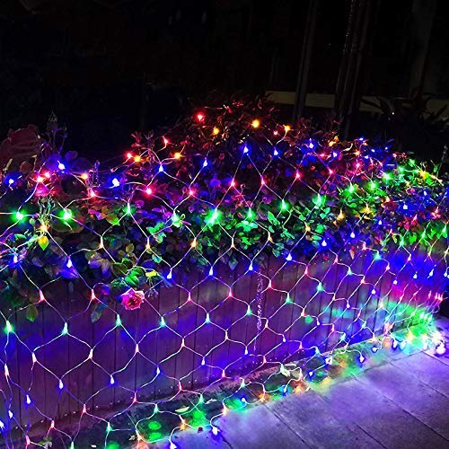 RENUS 10x6.5Ft 320 LED Net Lights Indoor String Lights Party Christmas Xmas Wedding Home Garden Decorations 8 Modes for Flashing(Multi Color)