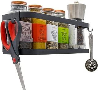 Magnetic Fridge Spice Rack Organizer [1-Tier with 2x Utility Hooks] - Mounted Jar Container Storage, Utensil Holder, Multi Use Kitchen Rack Shelf, Pantry Wall, Laundry Room, Garage. [Matte Black]
