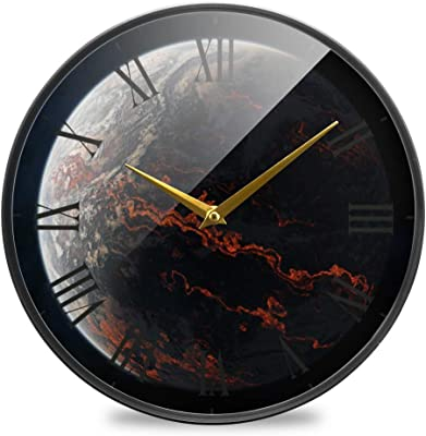 Amazon Com Driini Decorative Marble Analog Wall Clock Black Aluminum Frame With Gold Hands 12 Battery Operated With Silent Movement Modern Décor For Office Living Room Kitchen Or Bathroom Home Kitchen