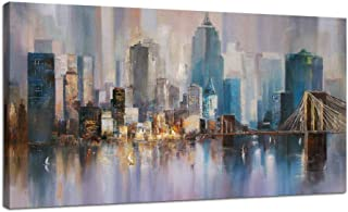 """Canvas Wall Art City Skyline New York Painting Prints Modern Brooklyn Bridge Colorful Abstract Cityscape Picture Stretched and Framed for Bedroom Home Office Living Room Decor, 48""""x24"""" One Panel"""