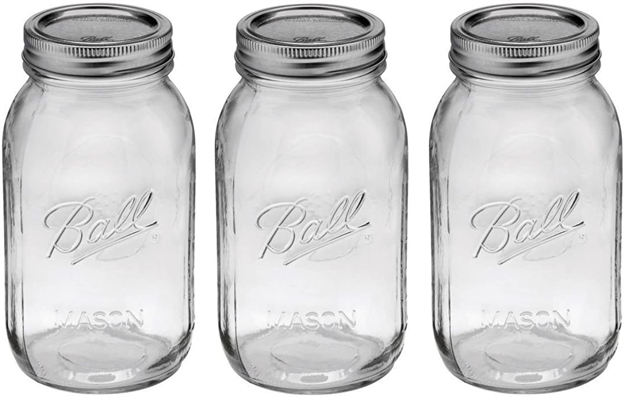 Ball Regular Mouth 32 Ounces Quart Mason Jars With Lids And Bands Set Of 3