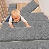 PURE ERA Bullnose Carpet Stair Treads Set of 14 Non-Slip Self Adhesive Ultra Plush Soft Pet Friendly Skid Resistant Tape Free Washable Reusable Light Grey 9.5' x 30'x1.2'