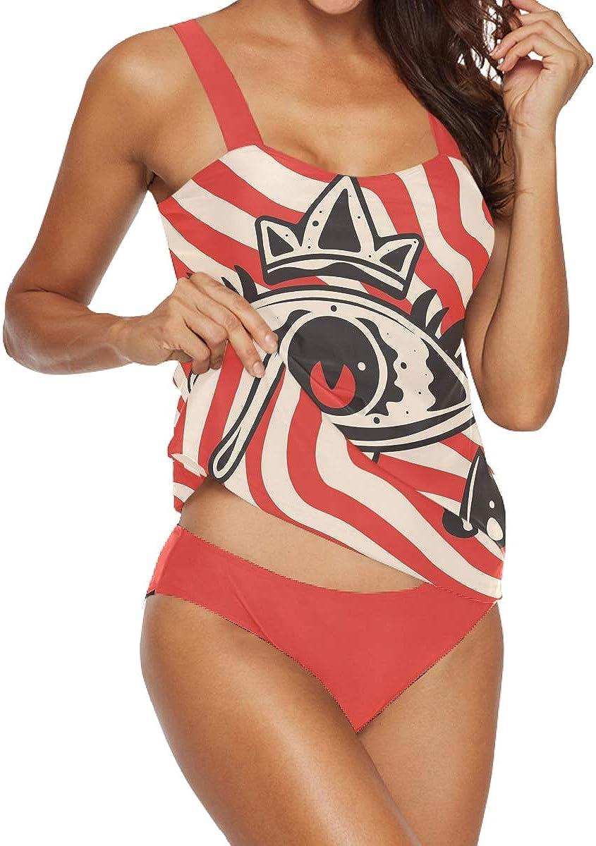 Eyes Red Stripe Women's Tankini Swimsuits, Underwire Two Piece Set Bathing Suit