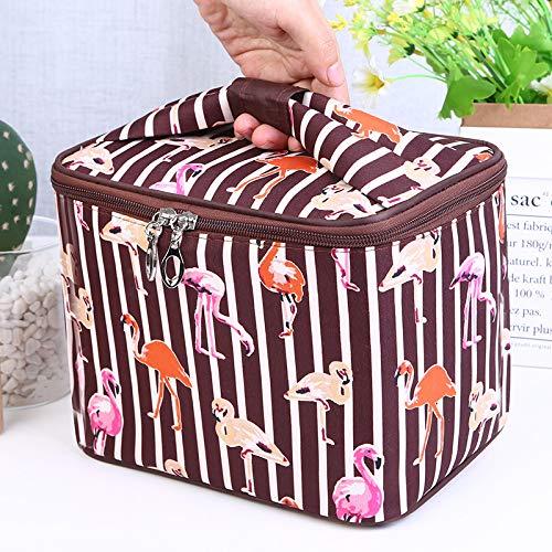 Portable Grand Dessin animé étanche Sac carré Sac cosmétique Maquillage boîte 25 * 26 * 18 CM Grand Portable café Flamant Rose