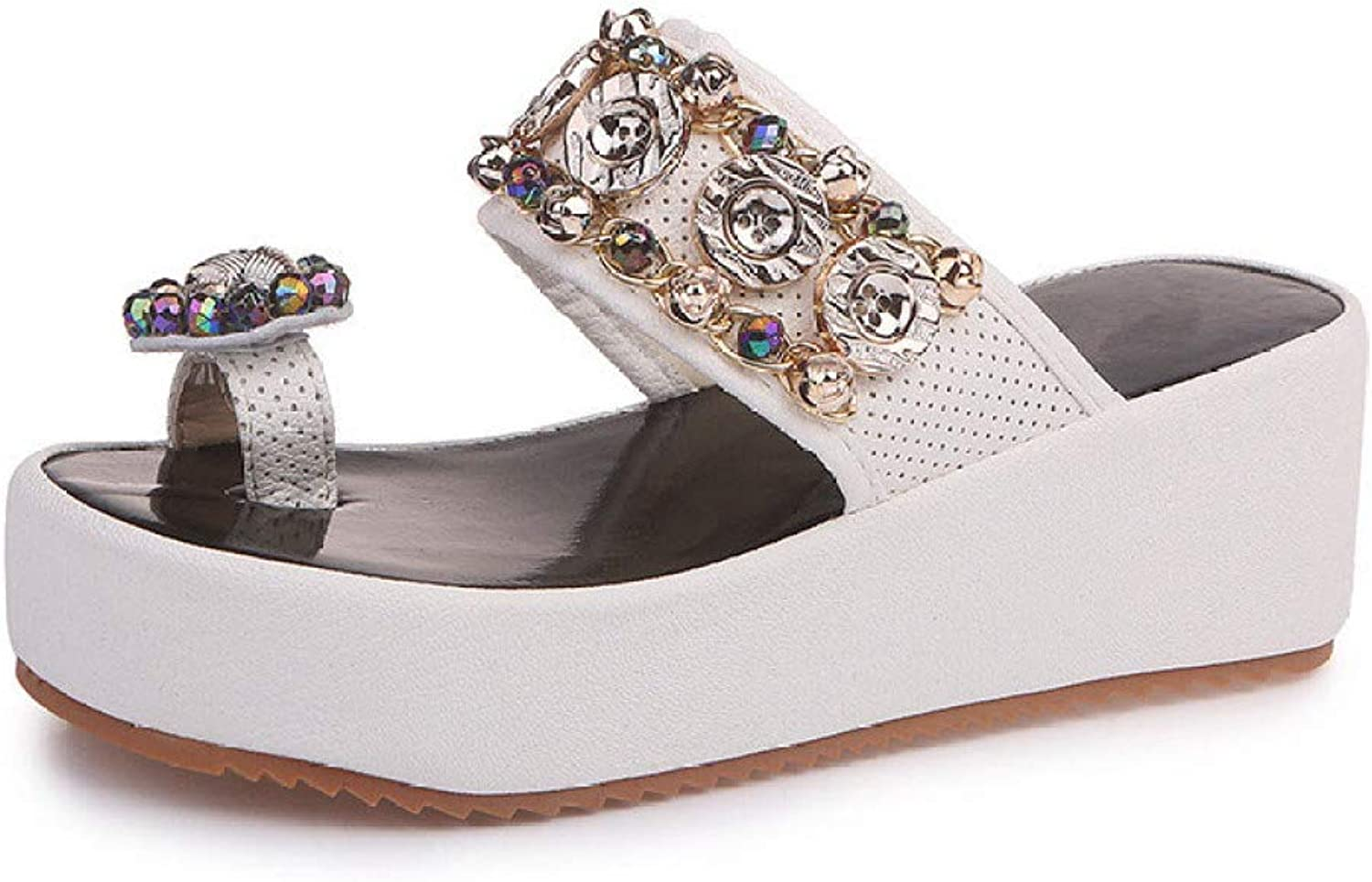 T-JULY Woman Flip Flops Wedges Fashion Crystal String Bead Platform Female Slides Ladies shoes Women Sandals Summer shoes