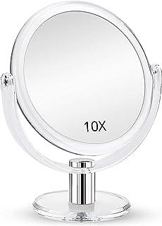 آینه آرایشی ذره بین دو طرفه ، آینه بزرگنمایی 1X 10X ، آینه غرور میز ، شفاف