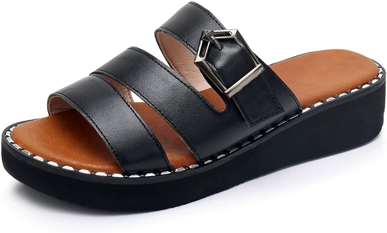 GIY Women's Strappy Platform Slide Sandals Open Toe Comfort Summer Beach Anti-Slip Slip on Wedge Sandals