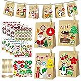 24 Calendario Adviento Navidad DIY, Set de Bolsas de Regalo con 24 Bolsas de Papel Kraft, 27 Tarjeta de Navidad, 24 Clips y 8 Pegatinas con 24 Números, para Navidad Decoración, Envolver Regalos
