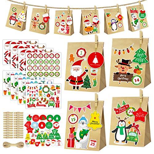 SHENMATE Calendari dell'avvento Fai da Te per Riempire, 24 Sacchetti Carta Kraft Riutilizzabili, Design Individuale Sacchetto Regalo di Natale (27 Biglietti di Auguri + 24 Clip di Legno + 8 Adesivi)