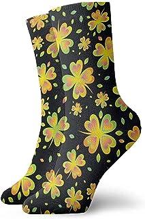 Kevin-Shop, Unisex Adultos Adolescentes Calcetines de trébol Dorados y Verdes Vestido novedoso Calcetines Gruesos y cálidos para Trabajar Viajar Correr Senderismo Al Aire Libre