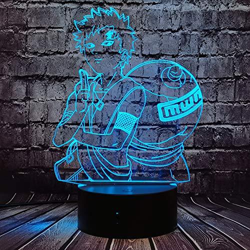 Jinlycoo Naruto Gaara Lámpara con forma de gaara japonesa cómic manga de dibujos animados anime Sabaku no Gaara 3D con sensor de luz nocturna táctil 7 colores decoración de humor lámpara
