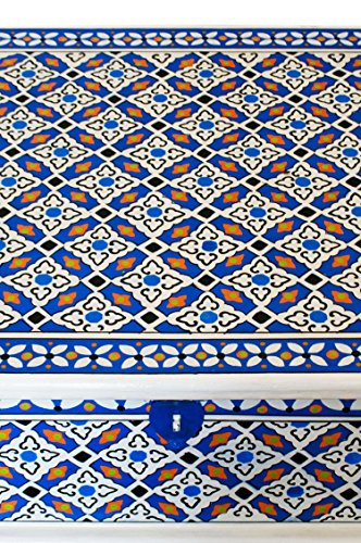 Marokkanischer Tisch Couchtisch Dimana 100cm Bunt | Orientalischer Holz Sofatisch orientalisch handbemalt | Indischer Wohnzimmertisch Truhentisch mit Stauraum | Asiatische Möbel aus Indien - 5