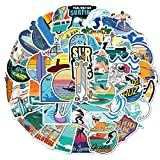 Beach Stickers 50pcs Surfing Stickers Summer Stickers Adventure Stickers Waterproof Decals Trendy Aesthetic Sticker Pack for Surfboard Skateboard Laptop Sticker Water Bottle Sticker