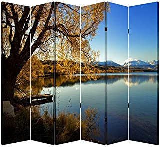 Toa 6 Panel Office Wood Folding Screen Decorative Canvas Privacy Partition Room Divider - Lakeside