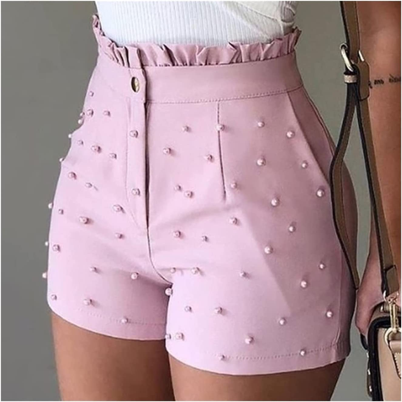 High Waist Button Ruffled Beaded Women Shorts Direct store Limited price sale Ruff Summer