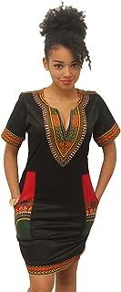 Women Bohemian V Neck Vintage Printed Ethnic Style Summer Shift Dress