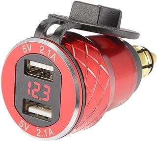 Sun3drucker Dubbel USB-laddare 4,2 A adapter voltmeter QC 3.0 snabbladdning LED spänningsindikator för motorcykel motorcyk...