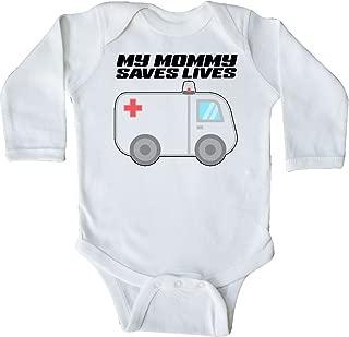 inktastic My Mommy Saves Lives- Ambulance Long Sleeve Creeper
