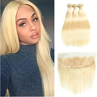 Fabeauty 613 Blonde Human Hair Bundles with Frontal Brazilian Straight with Frontal 100% Virgin Human Hair Weave with 13x4 Lace Frontal (22 24 26+18)