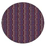 Mantel ajustable de poliéster con bordes elásticos, con diseño de zigzag a rayas, con detalles de colores...