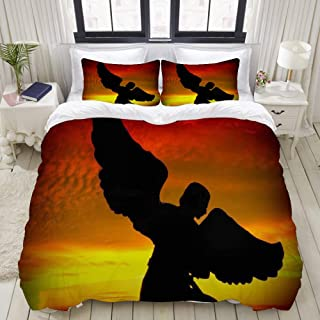 """Mokale Bedding Duvet Cover 3 Piece Set - Angel Silhouette - Decorative Hotel Dorm Comforter Cover with 2 Pollow Shams - Queen 90""""X90"""""""