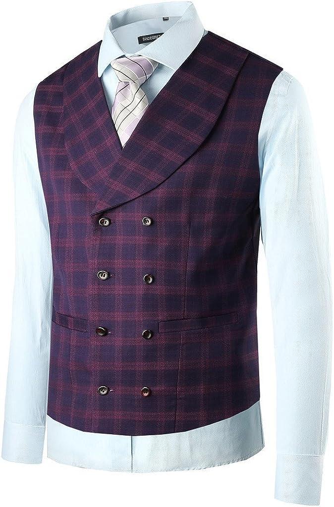 Hanayome Men's Fashion Business V-Neck Casual Slim Fit Suit Vest Plus Size Jacket SI13 (Purple,XXL)