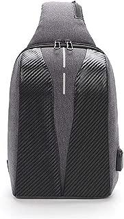 Men's Outdoor Chest Bag, Casual Sports Large-Capacity Shoulder Bag, USB Charging Messenger Bag,Black