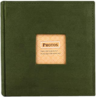Camilla Baby Photo Albums Pictures Album Personalized Book, 200 Pocket Sewn Leatherette Cover Archival Page Albums Plastic Protected 4x6 Selfie Photo Collection-Green