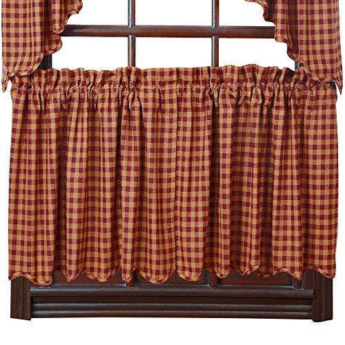 VHC Brands Burgundy Check Scalloped Tier Set of 2 L24xW36 Country Curtains, Burgundy and Tan