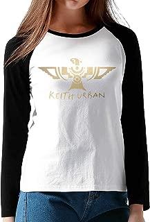 Womens Relaxed Fit Keith Urban Logo Gift Baseball Raglan Long Sleeve Shirt