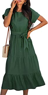 SOMTHRON Women's Short Sleeve Belted Waist Midi Dress Ruffle Hem A Line Boho Dresses Beachwear Party Cocktail Long Dress