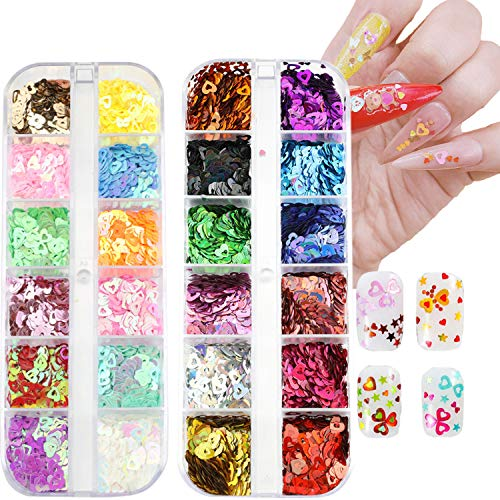 Nail Art Hearts Glitter 24 Colors Holographic Sparkly Mixed Heart & Hollow Heart Shaped Nail Sequins 4mm 2mm Various Size for Acrylic Nail Decoration Eye Face Body DIY Crafts