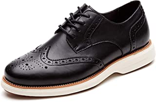 LAOKS Mens Oxford Shoes Wingtip Genuine Leather Lace up Dress Shoes