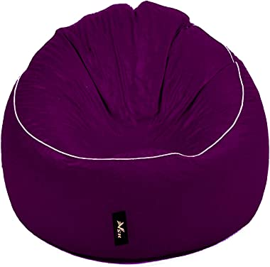 VSK Bean Bag XXXL Sofa Mudda Cover Purple White Piping (Without Beans) Cover only