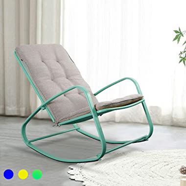 LUCKWIND Outdoor Patio Rocker Chair Metal – Wide Ergonomic High Back Supportive Cushioned Fold Reclining Glider for Porch Bal