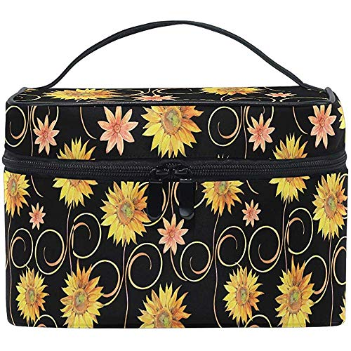 Poppy Yellow Sunflower Daisy Cosmetic Bag Travel Cosmetic Brush Bag Storage Organizer Large for Women