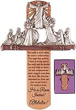 He is Risen Indeed Alleluia 10 x 6 Inch Resin Stone Wall Cross