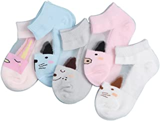 FQIAO Baby Sock Cotton 5 Packs 1-3 Yeas Thin Short Summer Unisex Socks for Walking M(3-5 Years) Pink