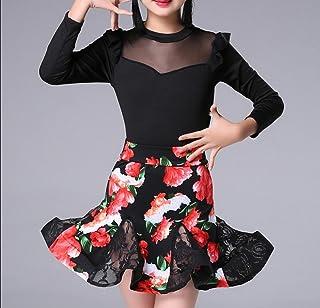 SMACO-Tanzrock für Kinder Kinder Latein Tanz Röcke langärmeligen Gold Samt Herbst und Winter Mädchen Kleidung üben Anzüge und Quasten Zeigen Kostüme Tanz Kleidung Wettbewerb