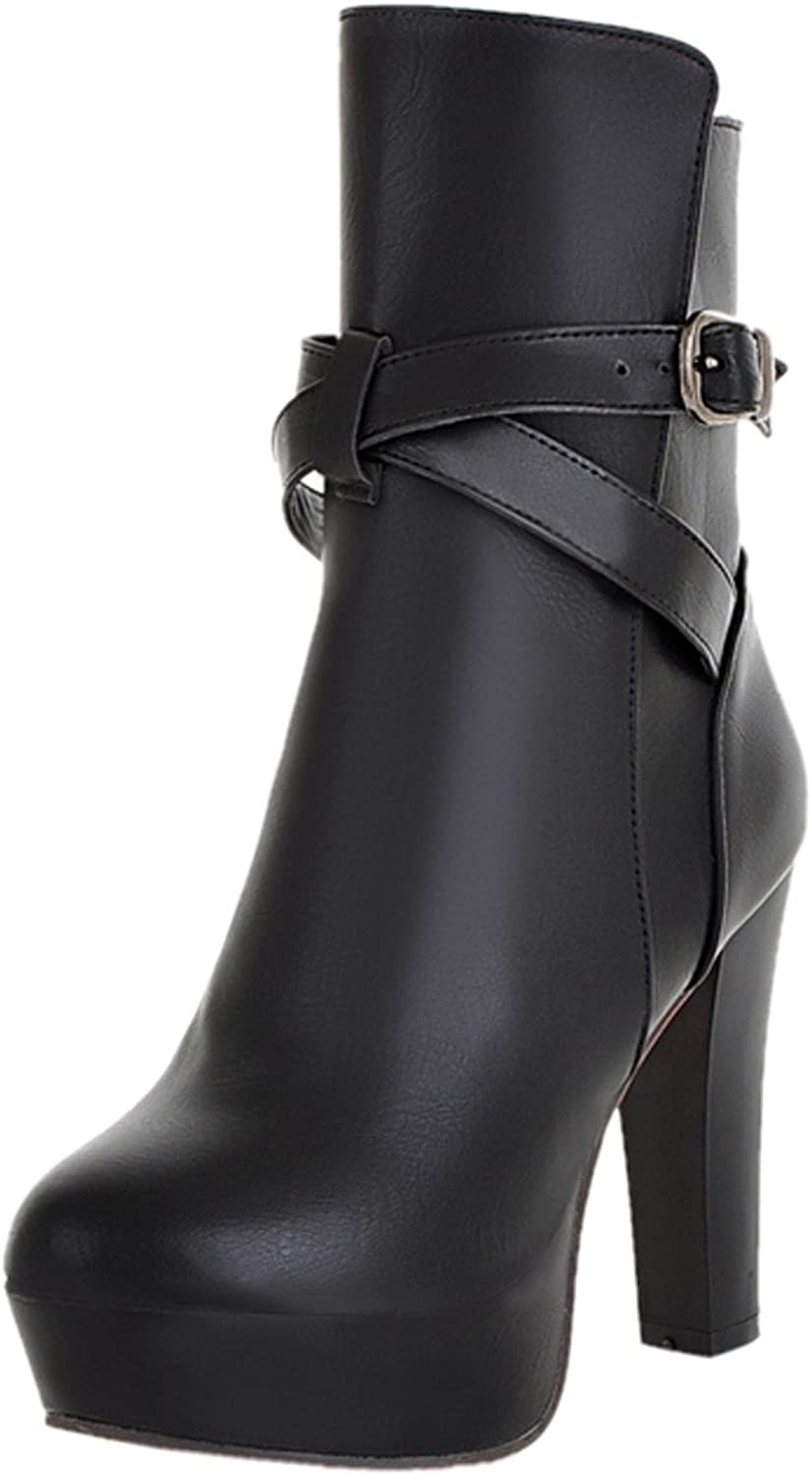 Rongzhi Womens Ankle Boots Pump High Heels Buckle Strap Zip Party Dress Formal Platform Booties Round Toe
